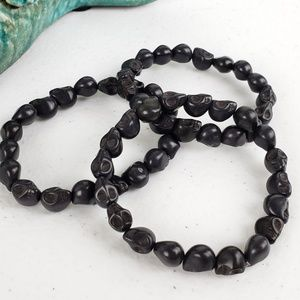 3/$20Just Like Candy Black Stone Skull Bracelet